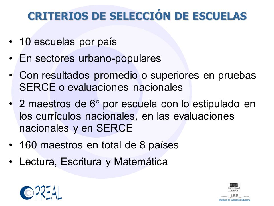 CRITERIOS DE SELECCIÓN DE ESCUELAS
