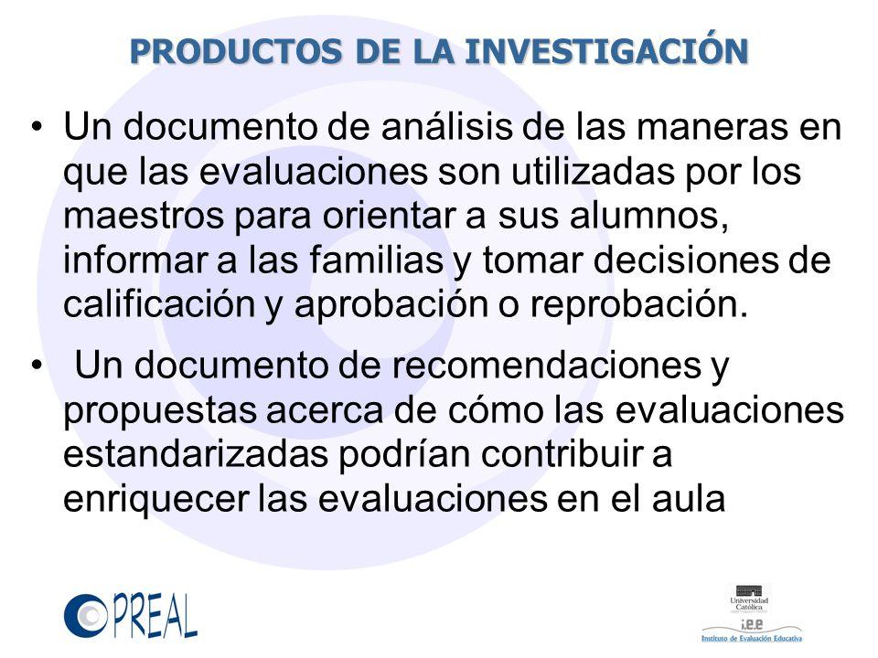 PRODUCTOS DE LA INVESTIGACIÓN