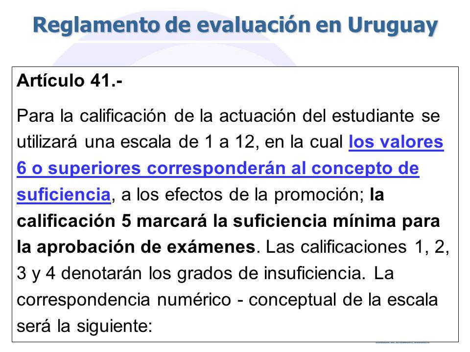 Reglamento de evaluación en Uruguay