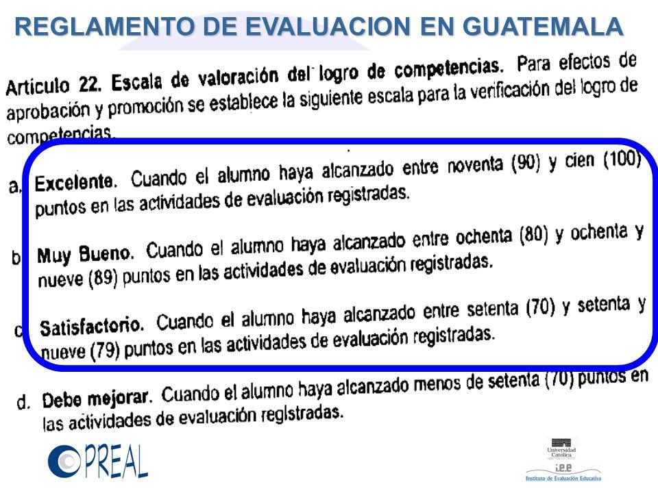 REGLAMENTO DE EVALUACION EN GUATEMALA