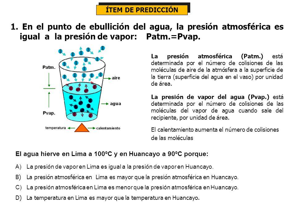 ÍTEM DE PREDICCIÓN 1. En el punto de ebullición del agua, la presión atmosférica es igual a la presión de vapor: Patm.=Pvap.