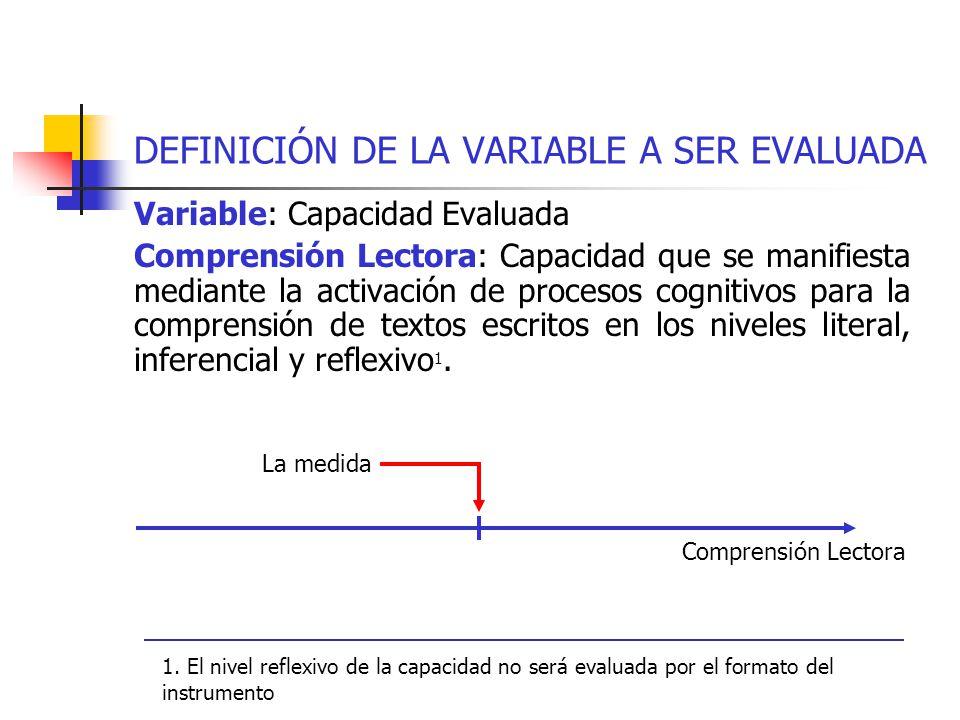 DEFINICIÓN DE LA VARIABLE A SER EVALUADA