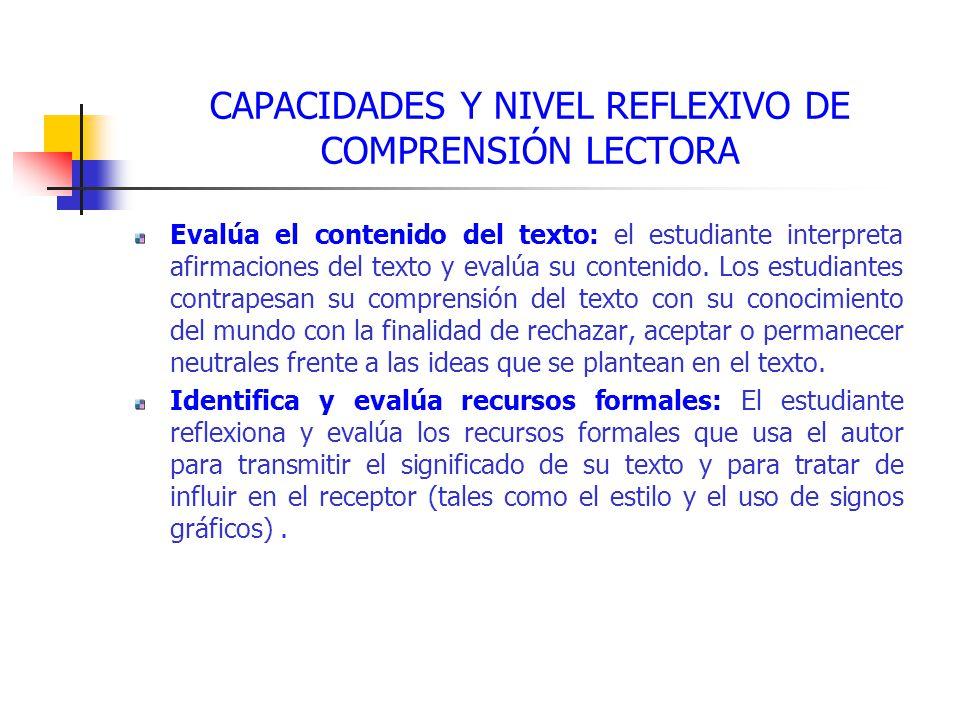 CAPACIDADES Y NIVEL REFLEXIVO DE COMPRENSIÓN LECTORA