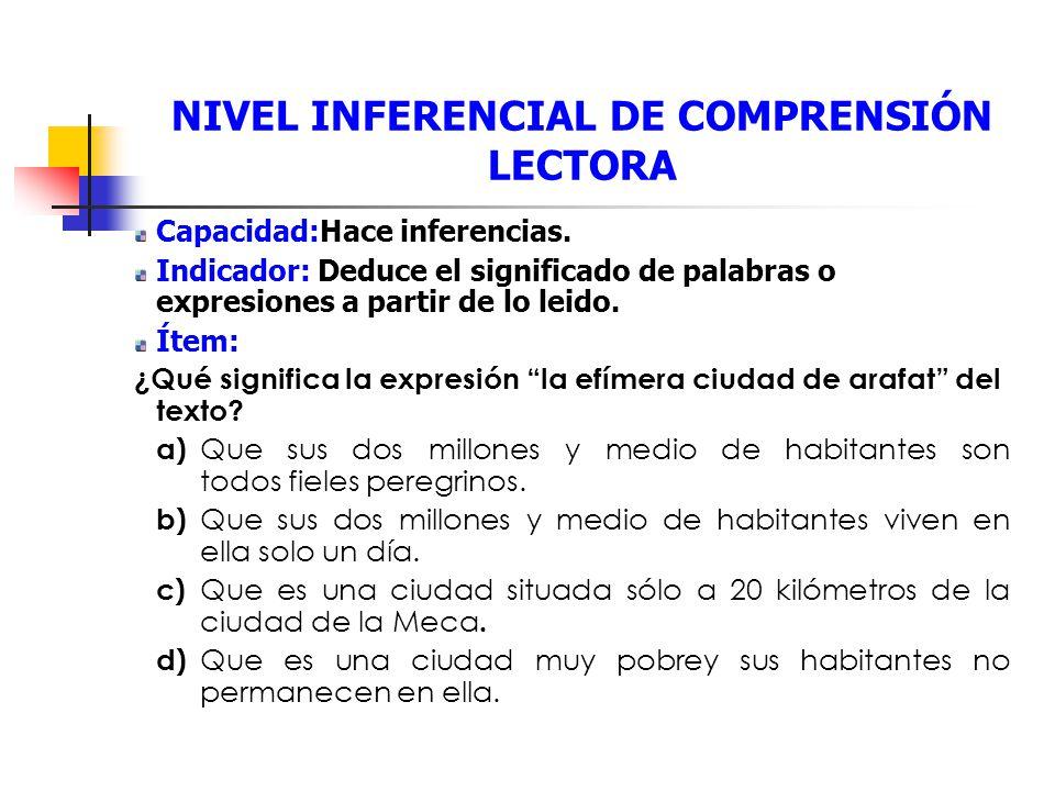 NIVEL INFERENCIAL DE COMPRENSIÓN LECTORA