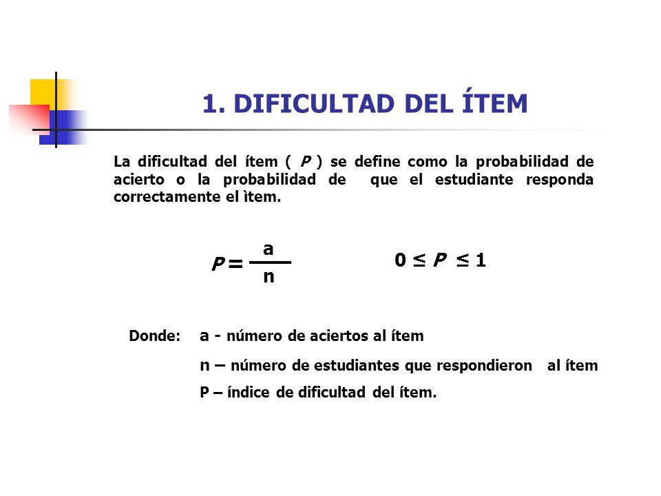1. DIFICULTAD DEL ÍTEM a P = 0 ≤ P ≤ 1 n