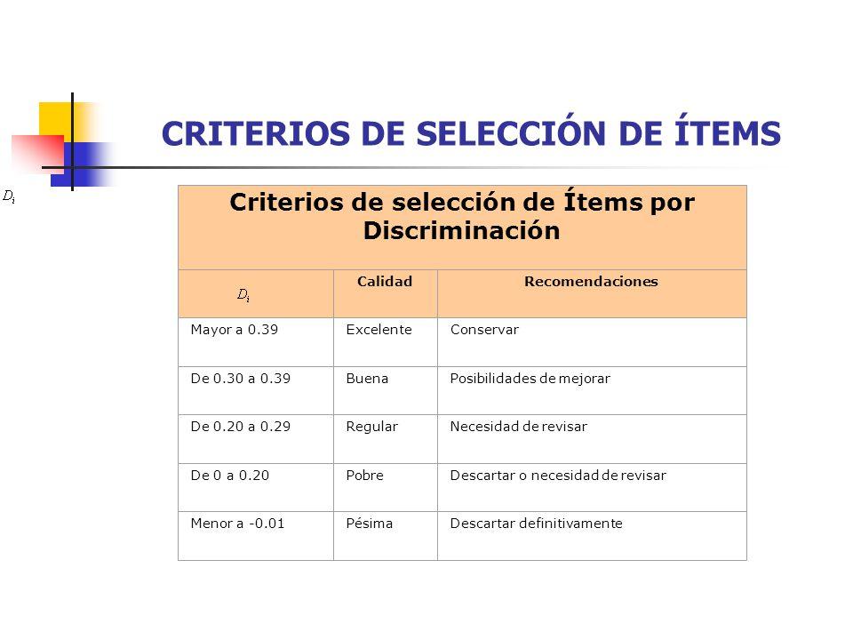 CRITERIOS DE SELECCIÓN DE ÍTEMS