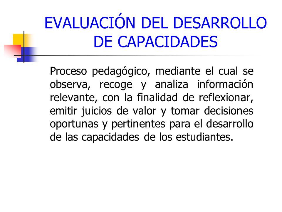 EVALUACIÓN DEL DESARROLLO DE CAPACIDADES