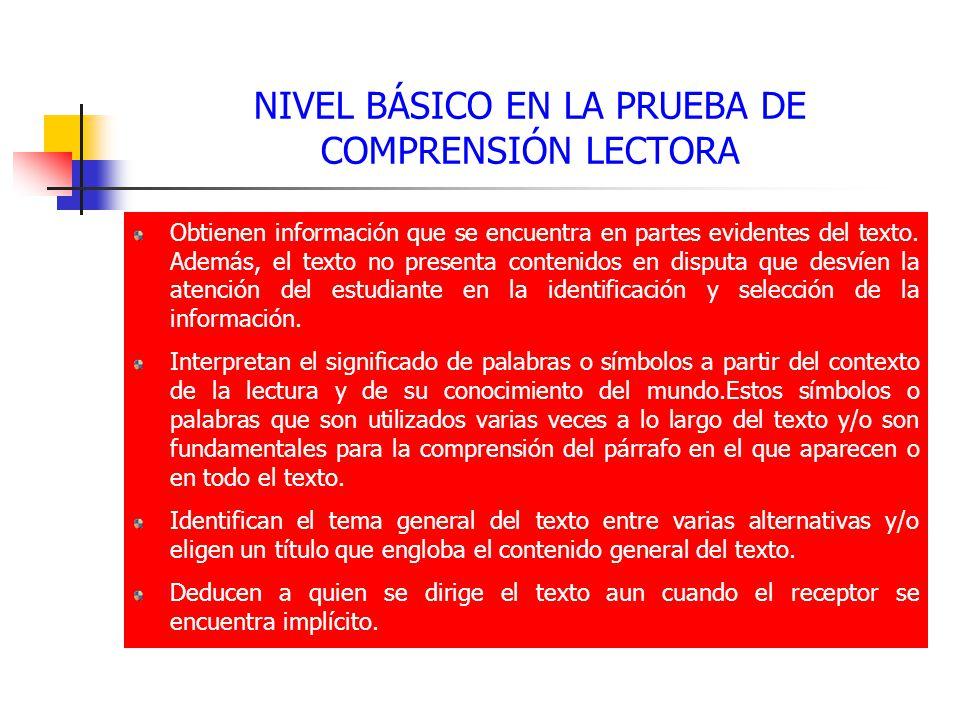 NIVEL BÁSICO EN LA PRUEBA DE COMPRENSIÓN LECTORA