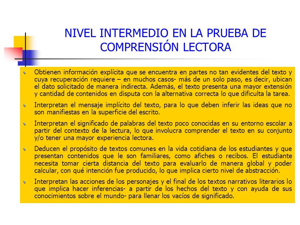 NIVEL INTERMEDIO EN LA PRUEBA DE COMPRENSIÓN LECTORA