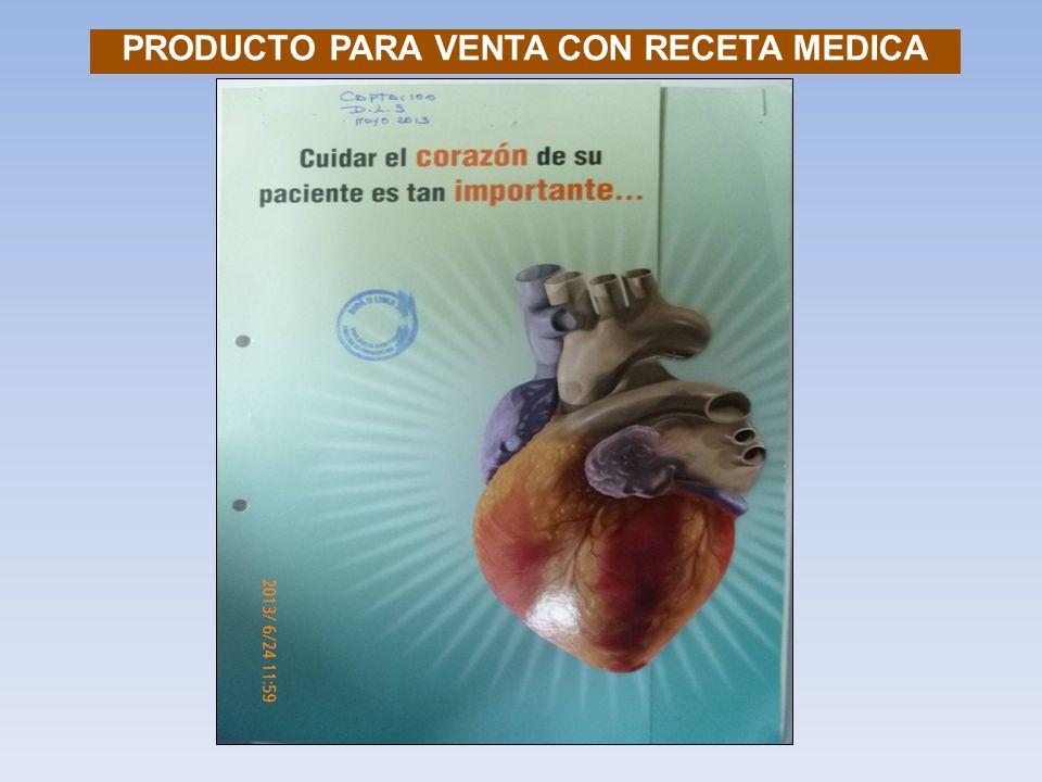 PRODUCTO PARA VENTA CON RECETA MEDICA