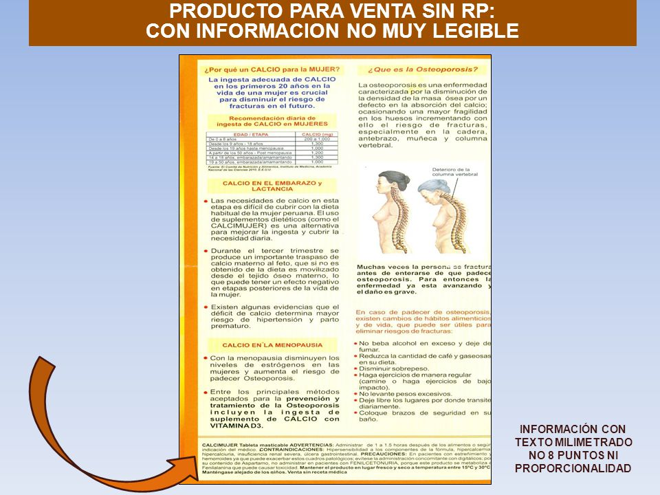 PRODUCTO PARA VENTA SIN RP: CON INFORMACION NO MUY LEGIBLE