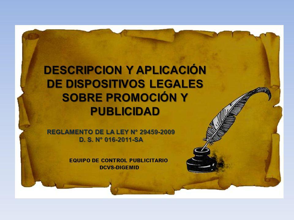REGLAMENTO DE LA LEY N° 29459-2009 EQUIPO DE CONTROL PUBLICITARIO
