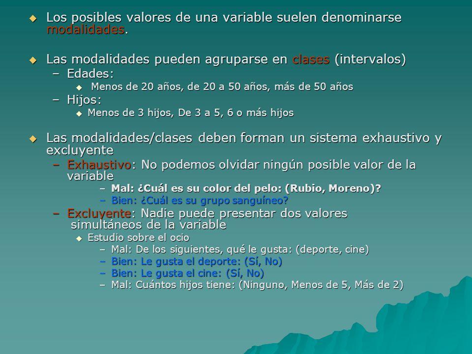Los posibles valores de una variable suelen denominarse modalidades.