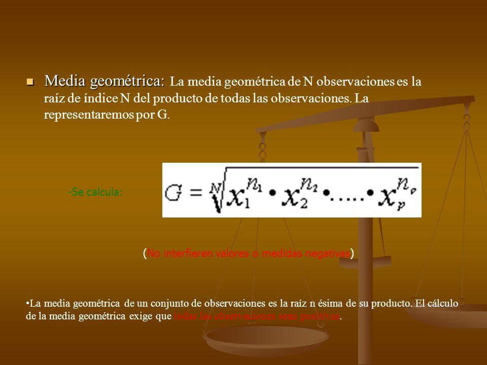 Media geométrica: La media geométrica de N observaciones es la raíz de índice N del producto de todas las observaciones. La representaremos por G.