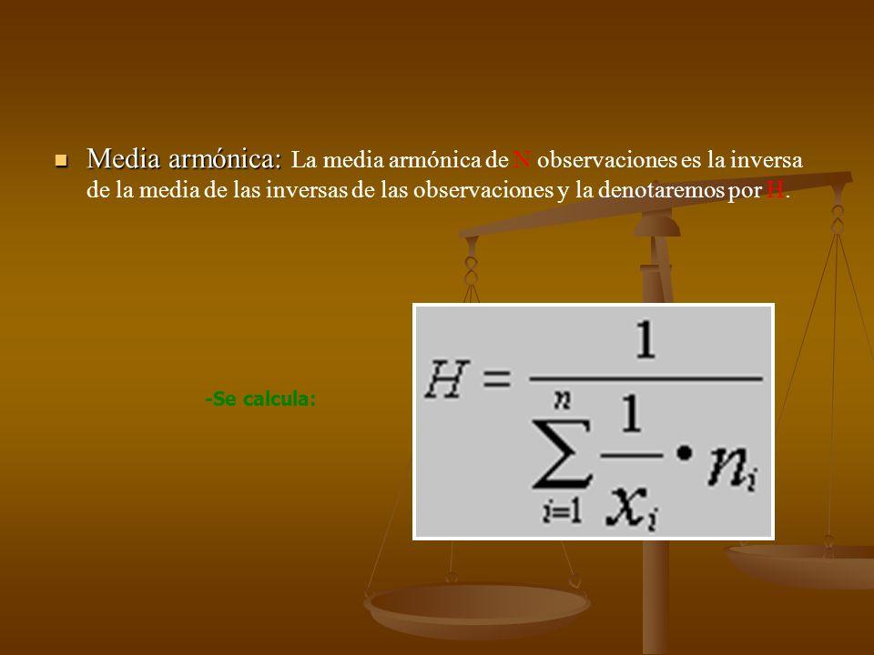 Media armónica: La media armónica de N observaciones es la inversa de la media de las inversas de las observaciones y la denotaremos por H.