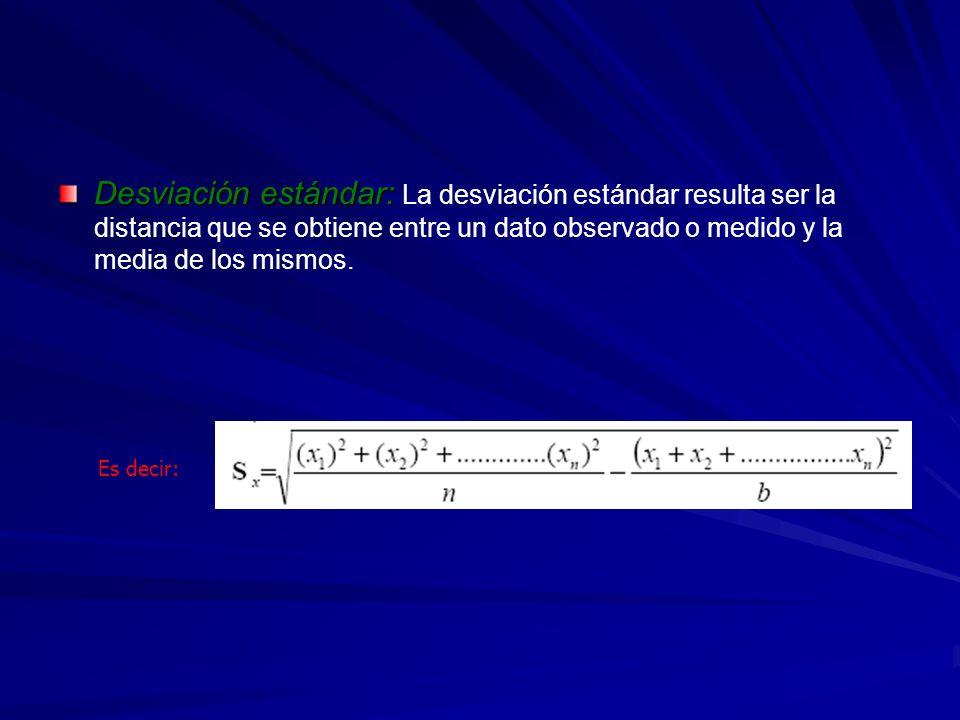Desviación estándar: La desviación estándar resulta ser la distancia que se obtiene entre un dato observado o medido y la media de los mismos.