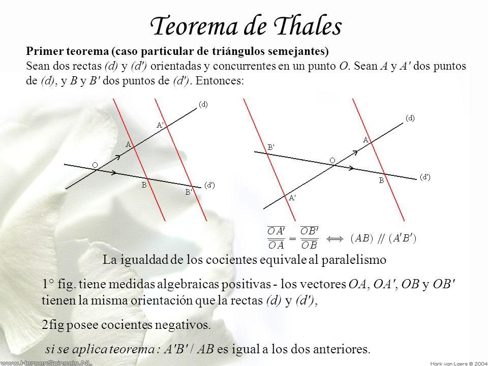 Teorema de Thales La igualdad de los cocientes equivale al paralelismo