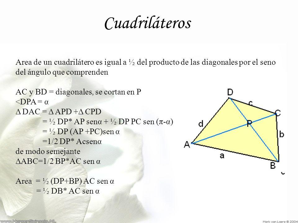 Cuadriláteros Area de un cuadrilátero es igual a ½ del producto de las diagonales por el seno del ángulo que comprenden.