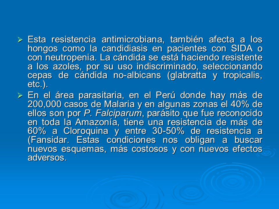 Esta resistencia antimicrobiana, también afecta a los hongos como la candidiasis en pacientes con SIDA o con neutropenia. La cándida se está haciendo resistente a los azoles, por su uso indiscriminado, seleccionando cepas de cándida no-albicans (glabratta y tropicalis, etc.).