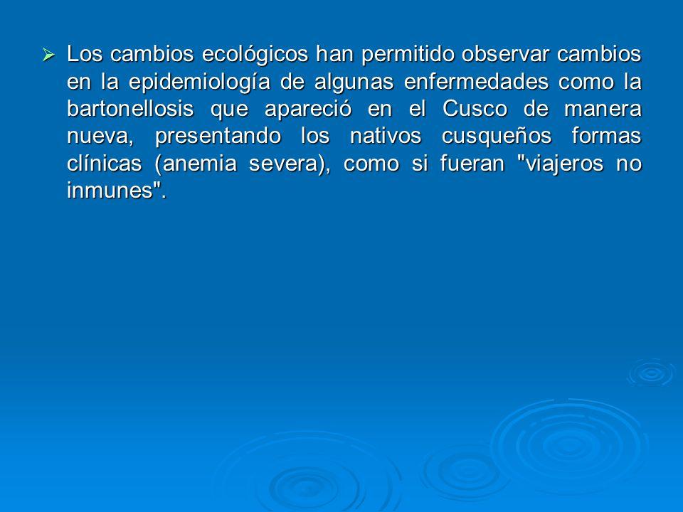 Los cambios ecológicos han permitido observar cambios en la epidemiología de algunas enfermedades como la bartonellosis que apareció en el Cusco de manera nueva, presentando los nativos cusqueños formas clínicas (anemia severa), como si fueran viajeros no inmunes .