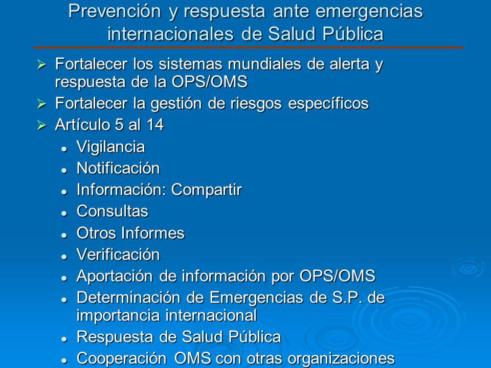 Prevención y respuesta ante emergencias internacionales de Salud Pública