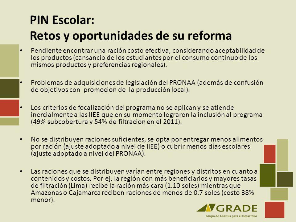PIN Escolar: Retos y oportunidades de su reforma