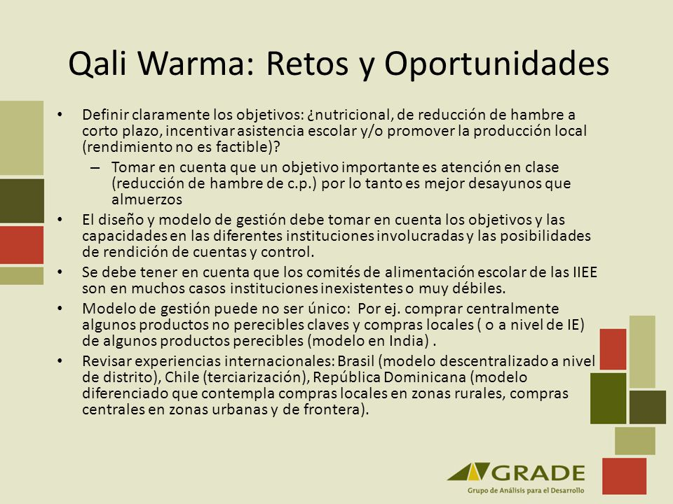 Qali Warma: Retos y Oportunidades