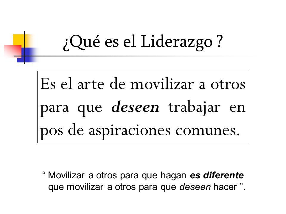 ¿Qué es el Liderazgo Es el arte de movilizar a otros para que deseen trabajar en pos de aspiraciones comunes.