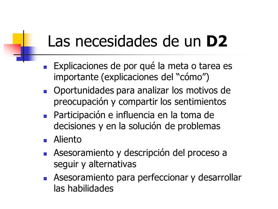 Las necesidades de un D2 Explicaciones de por qué la meta o tarea es importante (explicaciones del cómo )
