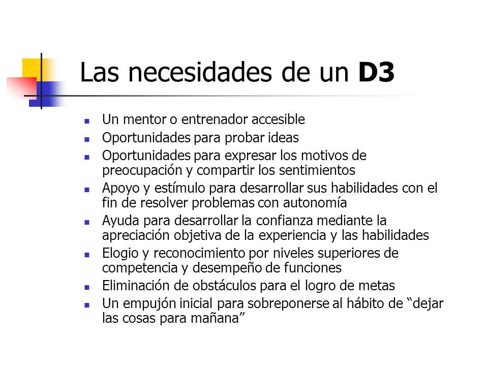 Las necesidades de un D3 Un mentor o entrenador accesible