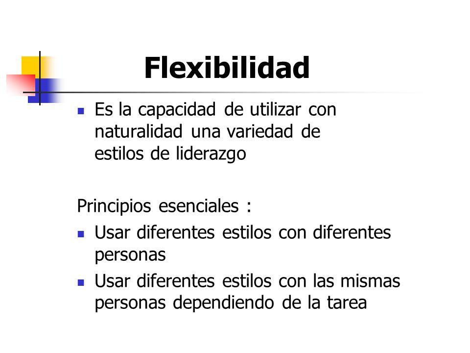 Flexibilidad Es la capacidad de utilizar con naturalidad una variedad de estilos de liderazgo.