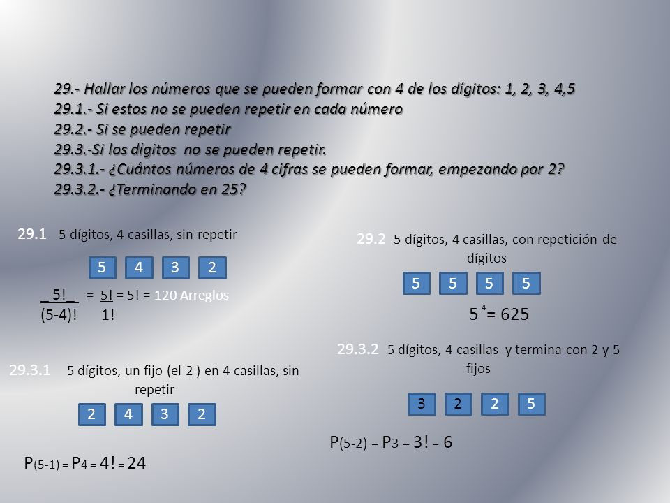 29.- Hallar los números que se pueden formar con 4 de los dígitos: 1, 2, 3, 4,5