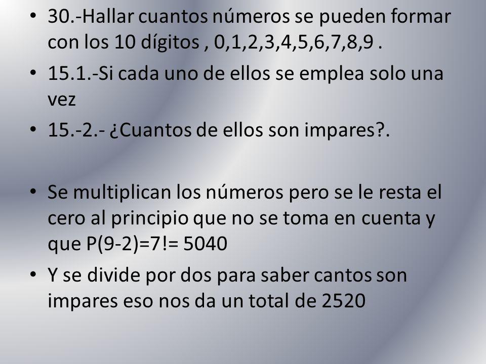 30.-Hallar cuantos números se pueden formar con los 10 dígitos , 0,1,2,3,4,5,6,7,8,9 .