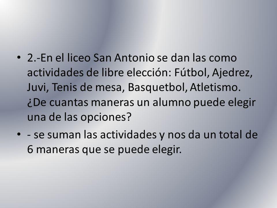 2.-En el liceo San Antonio se dan las como actividades de libre elección: Fútbol, Ajedrez, Juvi, Tenis de mesa, Basquetbol, Atletismo. ¿De cuantas maneras un alumno puede elegir una de las opciones