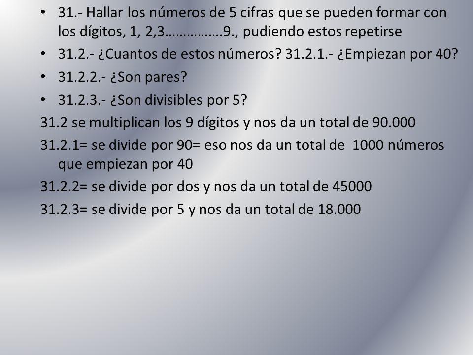 31.- Hallar los números de 5 cifras que se pueden formar con los dígitos, 1, 2,3…………….9., pudiendo estos repetirse