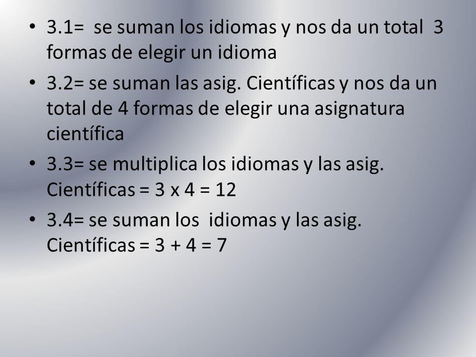 3.1= se suman los idiomas y nos da un total 3 formas de elegir un idioma