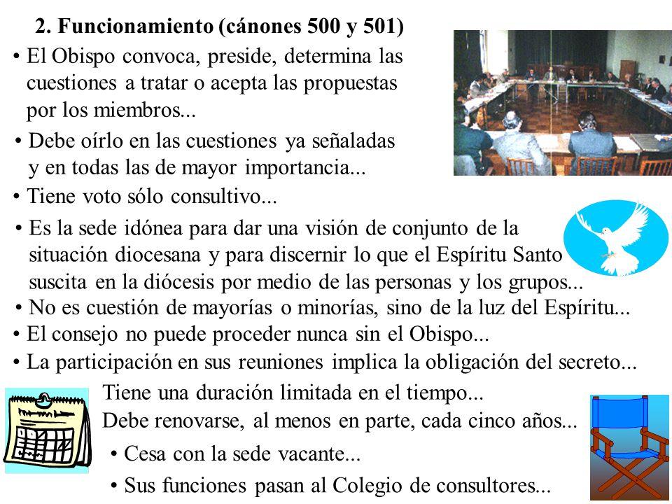 2. Funcionamiento (cánones 500 y 501)