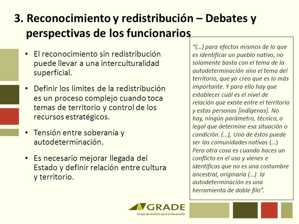 3. Reconocimiento y redistribución – Debates y perspectivas de los funcionarios
