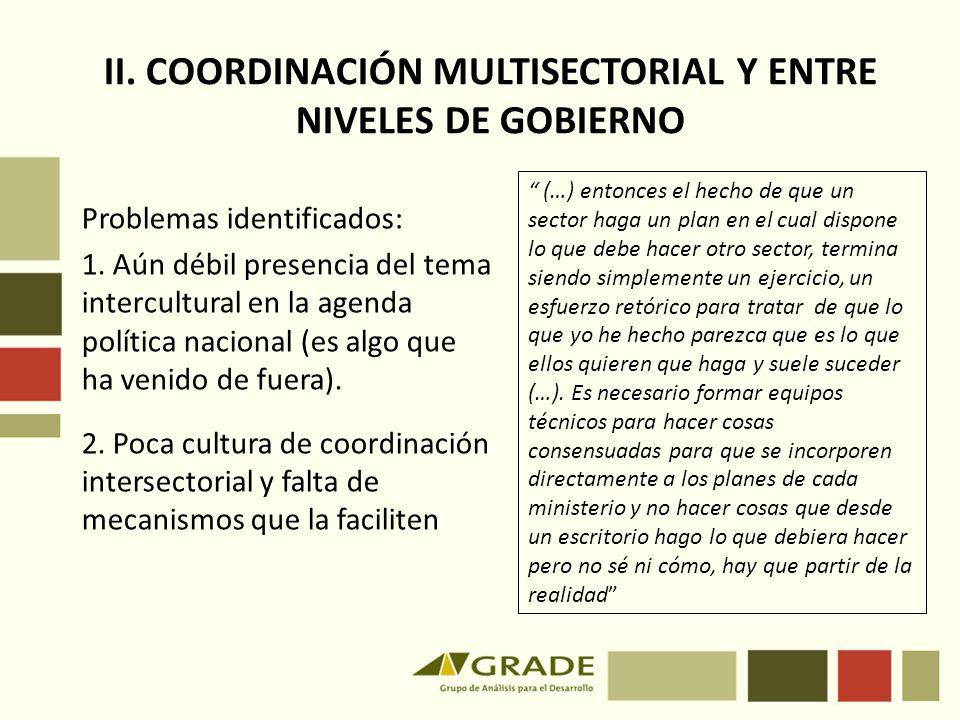 II. COORDINACIÓN MULTISECTORIAL Y ENTRE NIVELES DE GOBIERNO