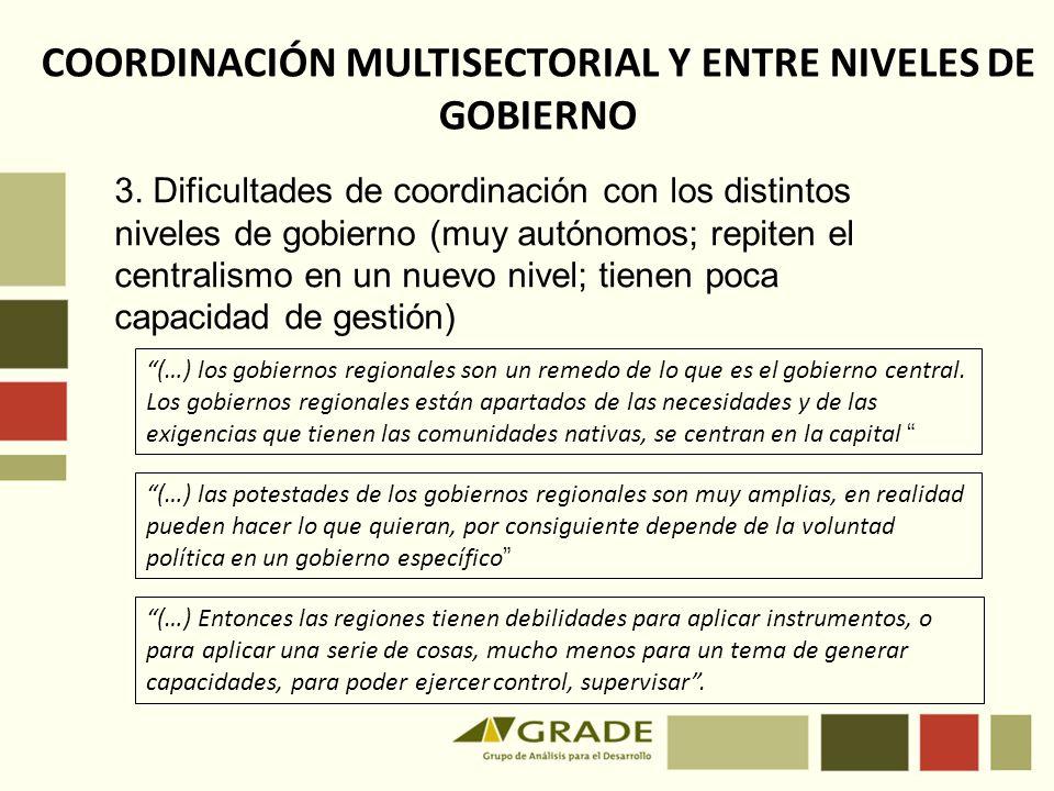 COORDINACIÓN MULTISECTORIAL Y ENTRE NIVELES DE GOBIERNO
