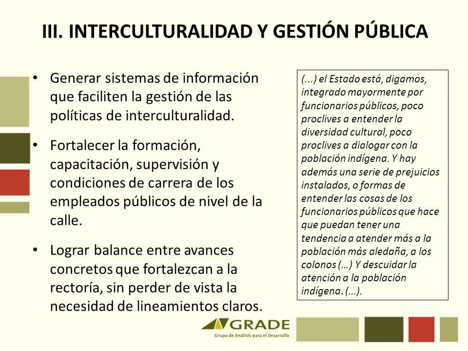 III. INTERCULTURALIDAD Y GESTIÓN PÚBLICA