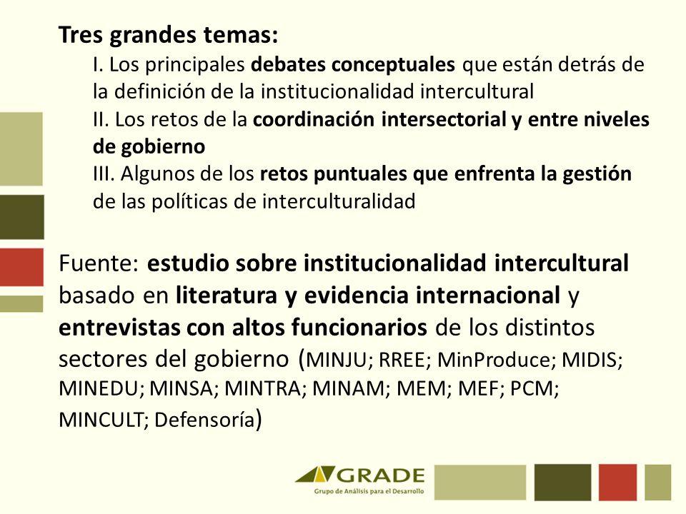 Tres grandes temas: I. Los principales debates conceptuales que están detrás de la definición de la institucionalidad intercultural.