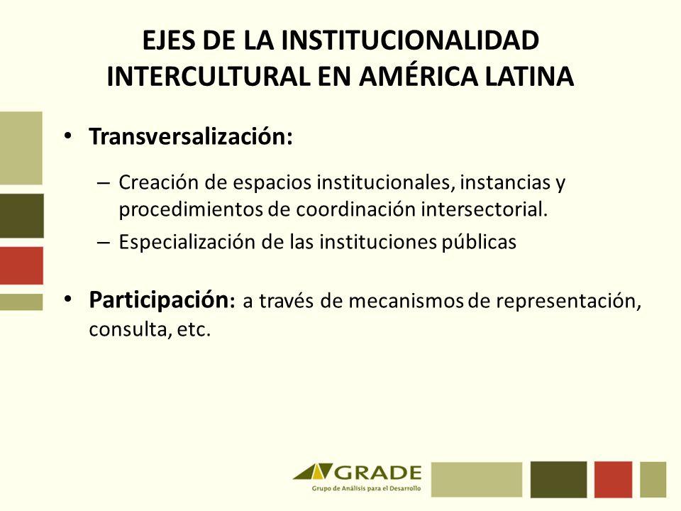 EJES DE LA INSTITUCIONALIDAD INTERCULTURAL EN AMÉRICA LATINA