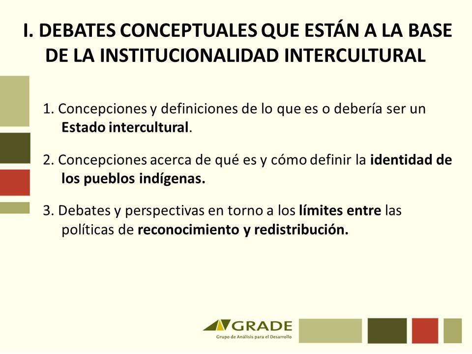 I. DEBATES CONCEPTUALES QUE ESTÁN A LA BASE DE LA INSTITUCIONALIDAD INTERCULTURAL