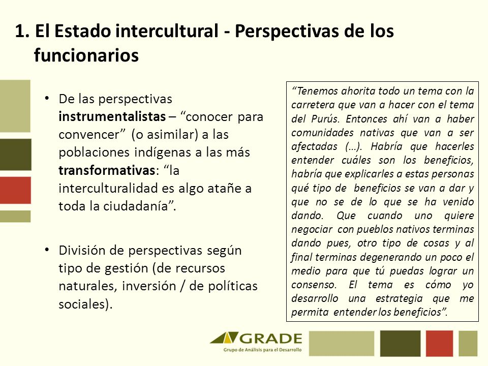 1. El Estado intercultural - Perspectivas de los funcionarios