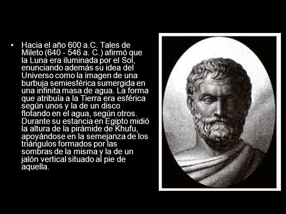 Hacia el año 600 a. C. Tales de Mileto (640 - 546 a. C