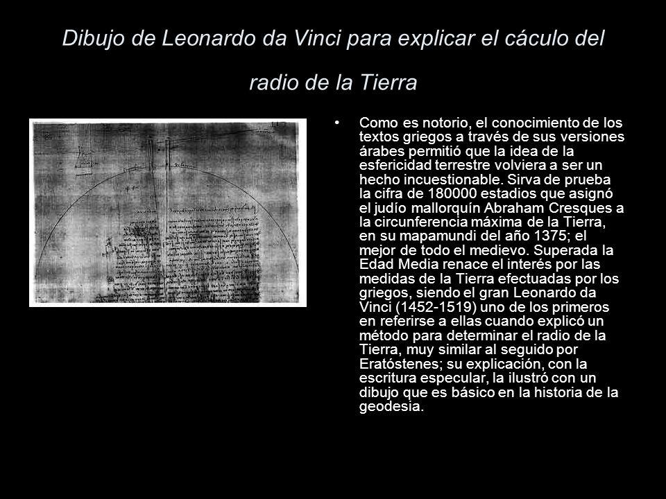 Dibujo de Leonardo da Vinci para explicar el cáculo del radio de la Tierra