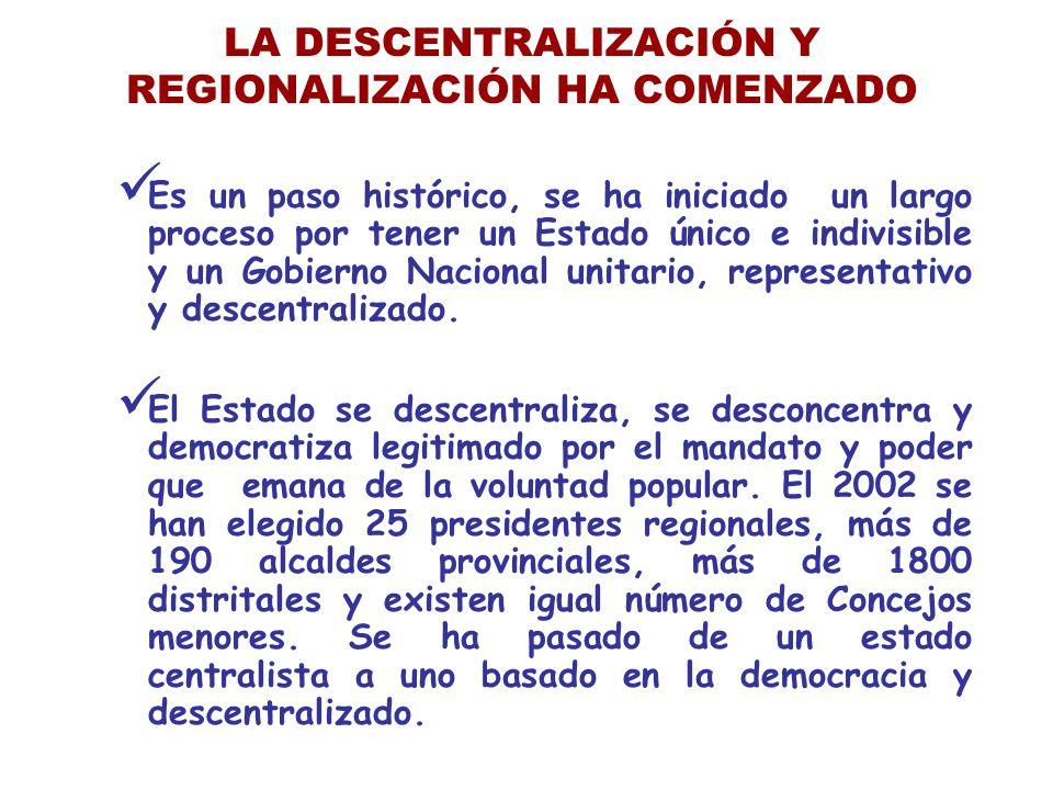 LA DESCENTRALIZACIÓN Y REGIONALIZACIÓN HA COMENZADO