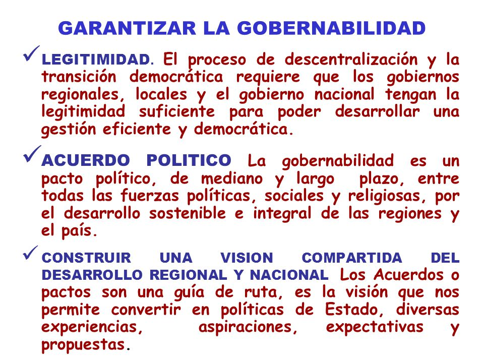 GARANTIZAR LA GOBERNABILIDAD
