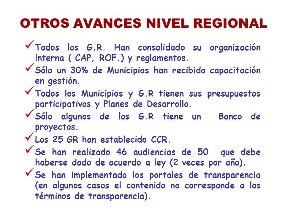 OTROS AVANCES NIVEL REGIONAL